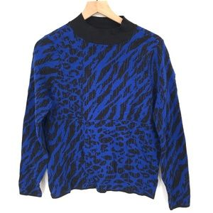 NEW Willow Drive Mock Neck abstract animal print top Sweater Blue L women's